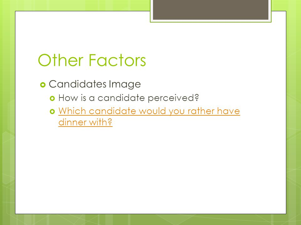 Other Factors Candidates Image How is a candidate perceived