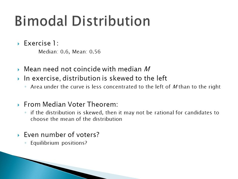 Bimodal Distribution Exercise 1: Mean need not coincide with median M