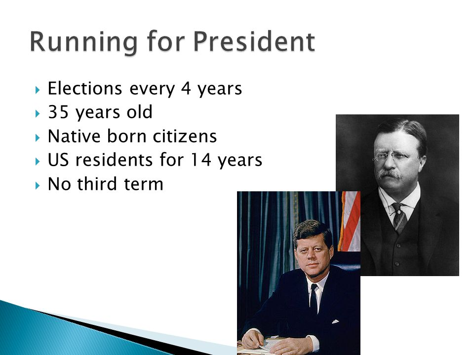 Running for President Elections every 4 years 35 years old