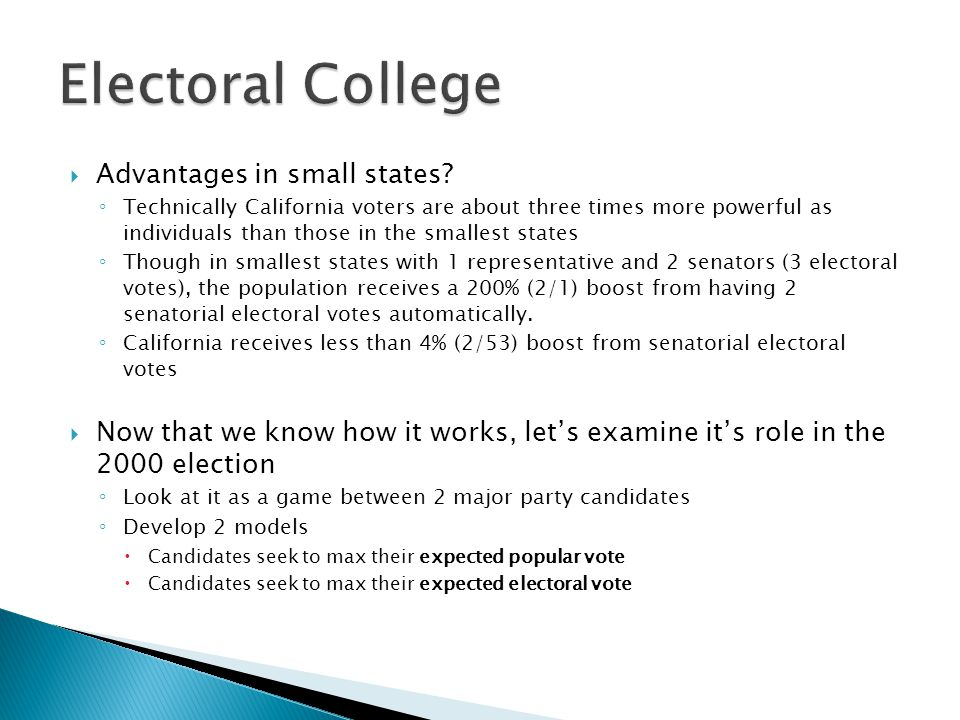 Electoral College Advantages in small states
