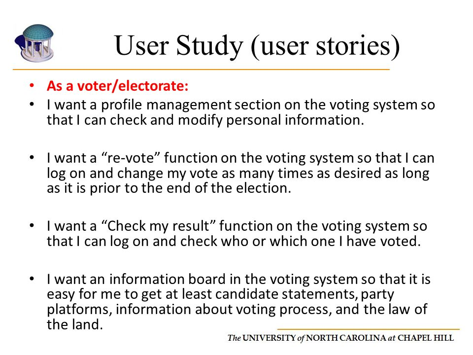 User Study (user stories)