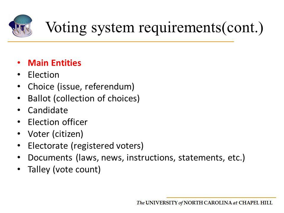 Voting system requirements(cont.)