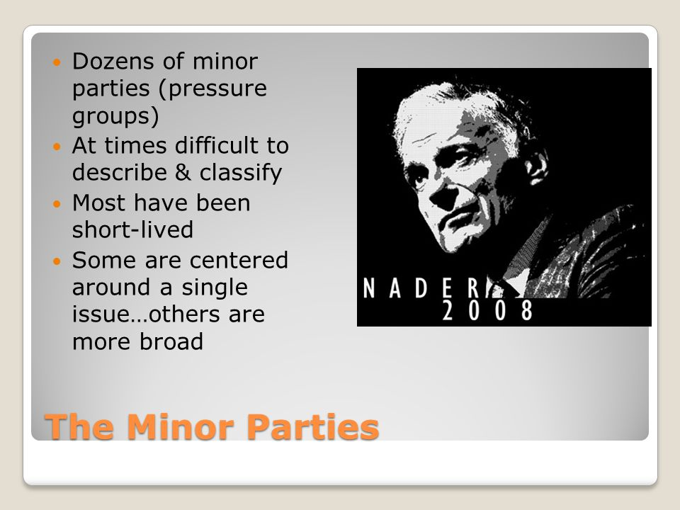 The Minor Parties Dozens of minor parties (pressure groups)