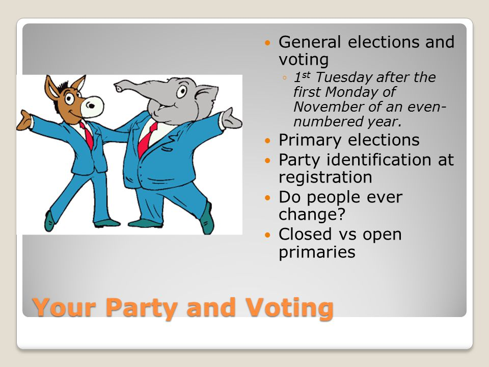 Your Party and Voting General elections and voting Primary elections