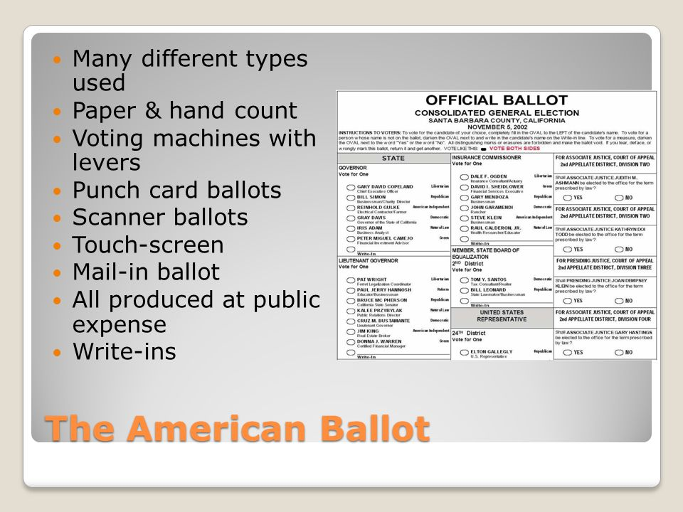 The American Ballot Many different types used Paper & hand count