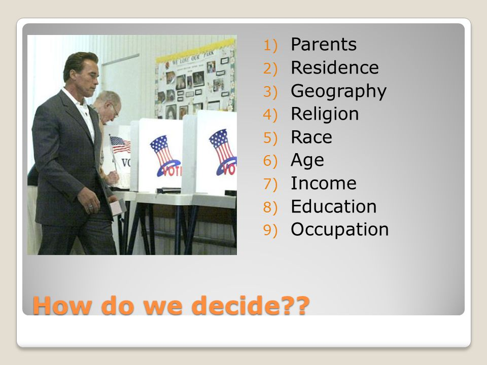How do we decide Parents Residence Geography Religion Race Age
