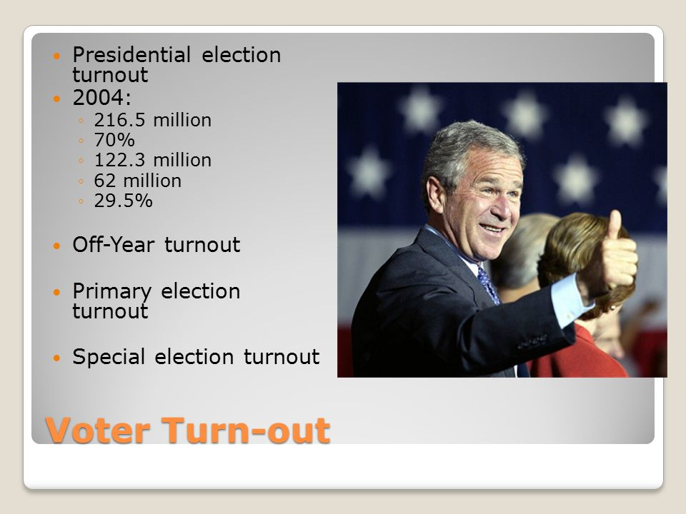 Voter Turn-out Presidential election turnout 2004: Off-Year turnout
