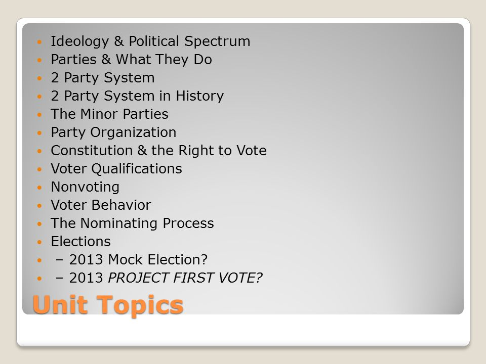 Unit Topics Ideology & Political Spectrum Parties & What They Do