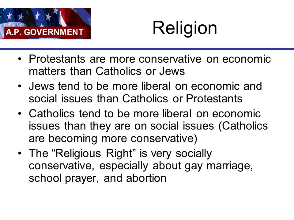 Religion Protestants are more conservative on economic matters than Catholics or Jews.