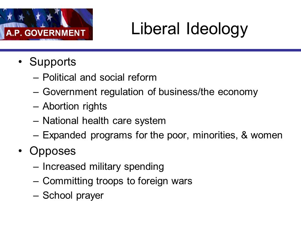 Liberal Ideology Supports Opposes Political and social reform