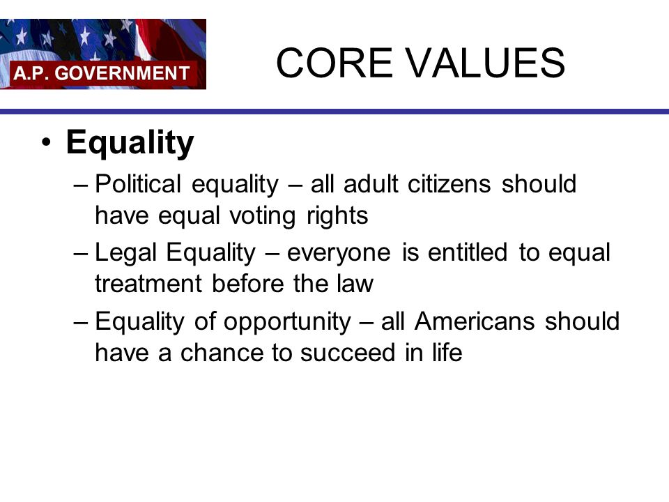 CORE VALUES Equality. Political equality – all adult citizens should have equal voting rights.