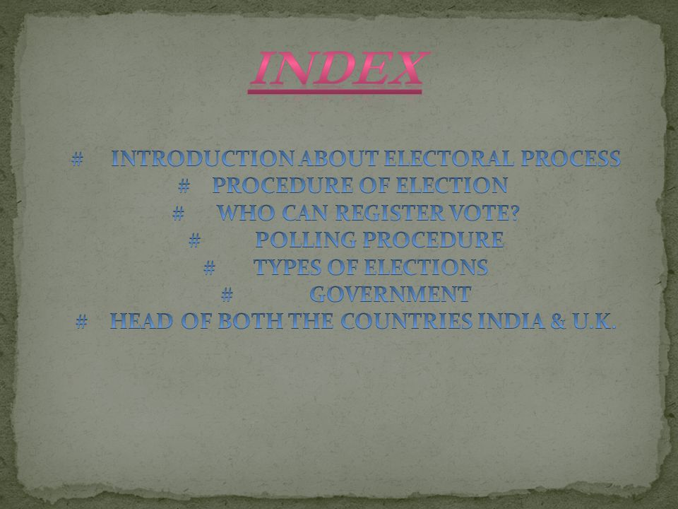 INDEX # INTRODUCTION ABOUT ELECTORAL PROCESS # PROCEDURE OF ELECTION