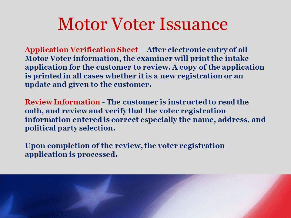 Motor Voter Issuance
