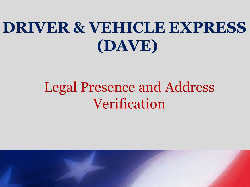Legal Presence and Address Verification