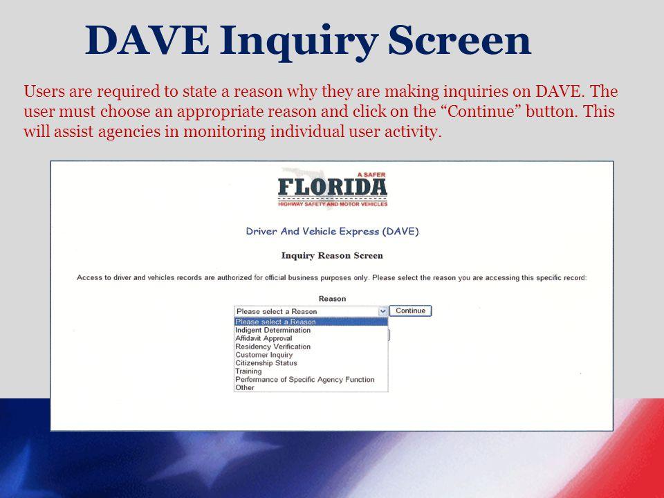 DAVE Inquiry Screen