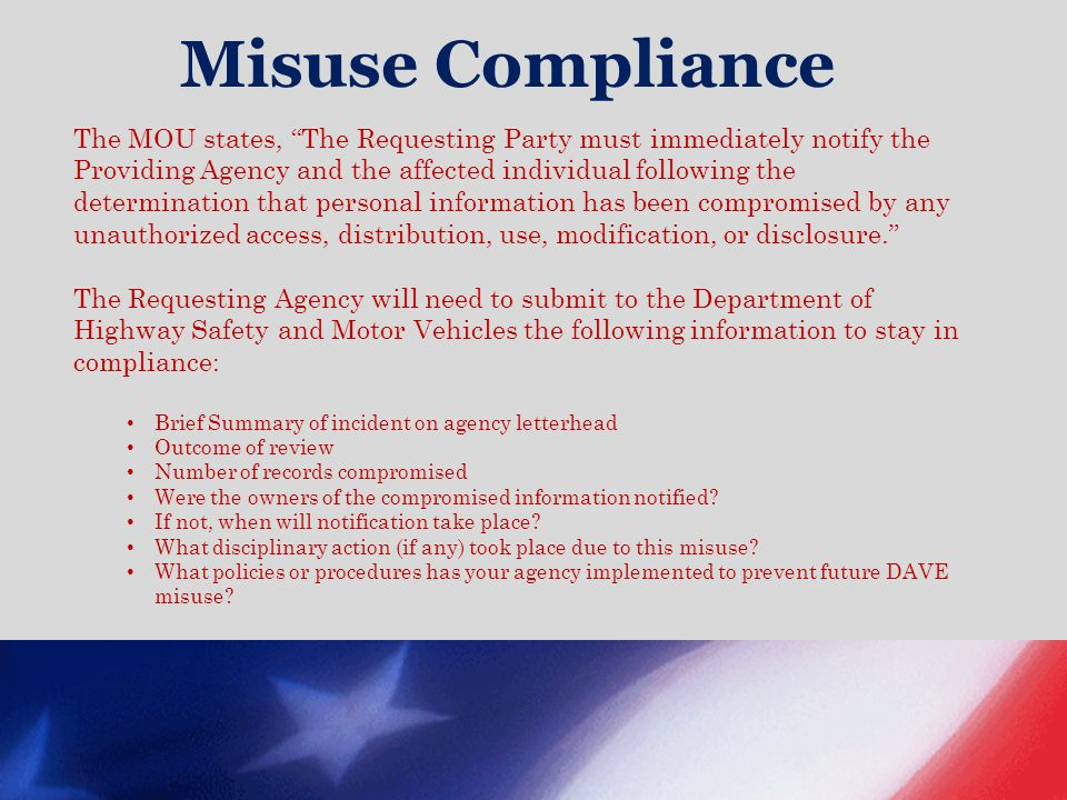 Misuse Compliance