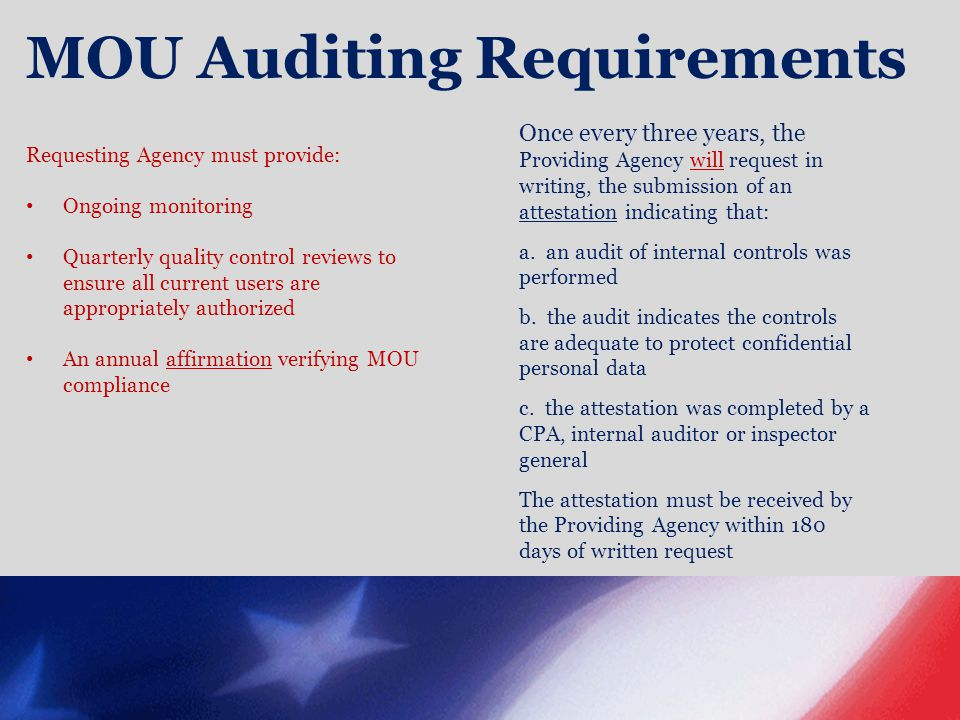 MOU Auditing Requirements