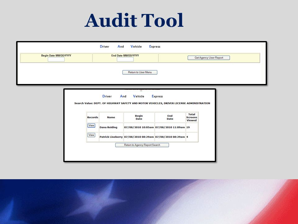 Audit Tool Driver And Vehicle Express.