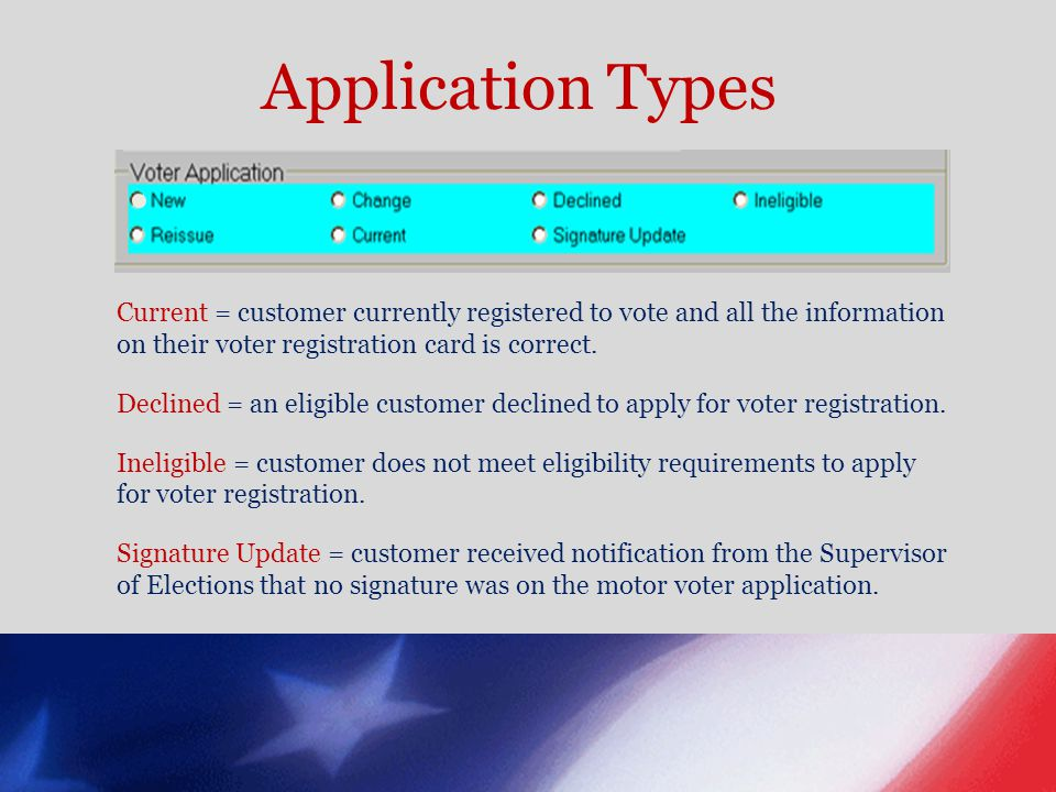 Application Types Current = customer currently registered to vote and all the information on their voter registration card is correct.