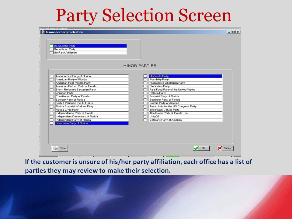 Party Selection Screen