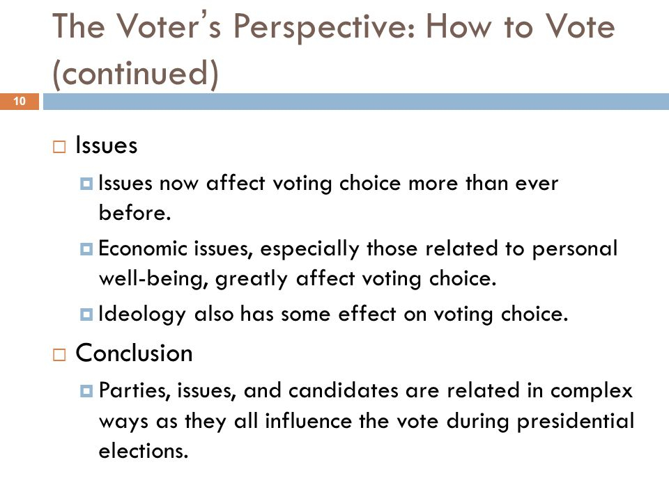 The Voter's Perspective: How to Vote (continued)