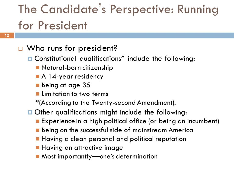 The Candidate's Perspective: Running for President