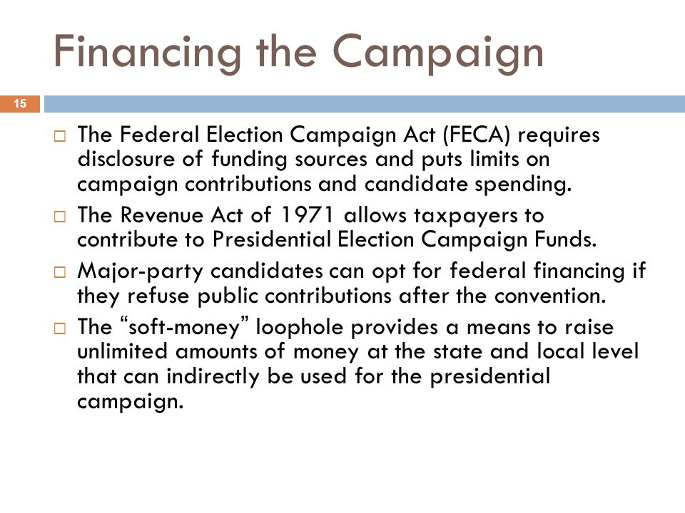 Financing the Campaign