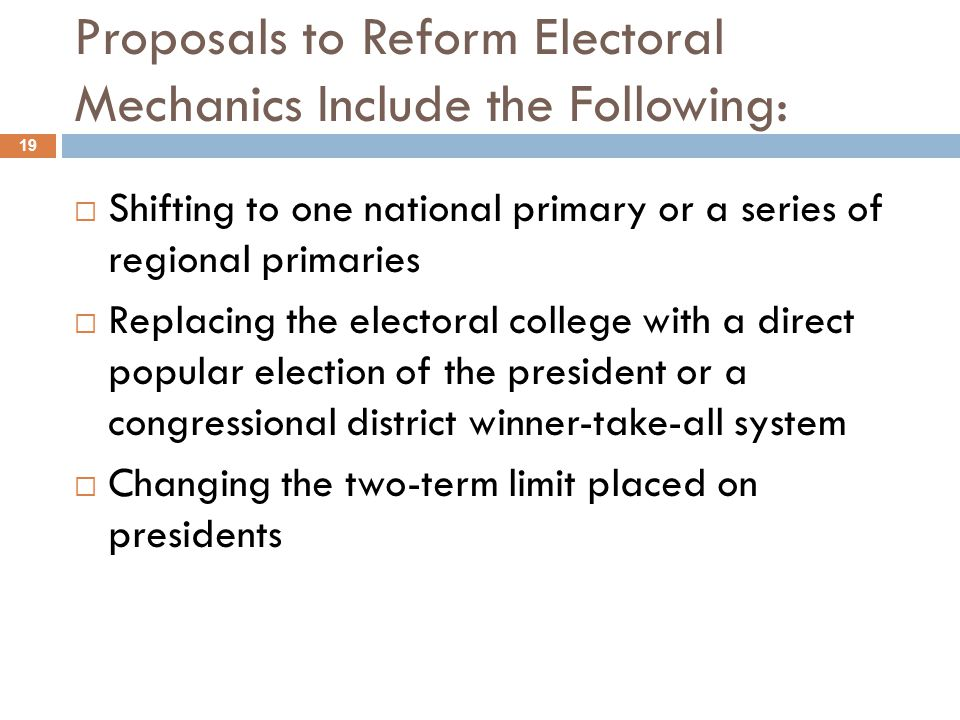 Proposals to Reform Electoral Mechanics Include the Following: