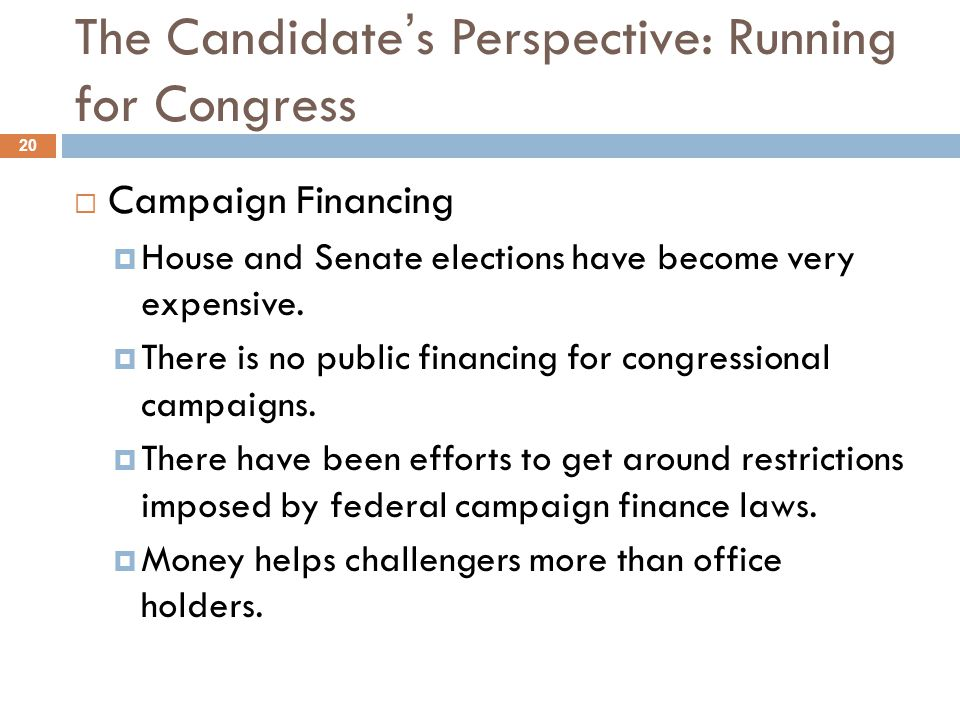 The Candidate's Perspective: Running for Congress