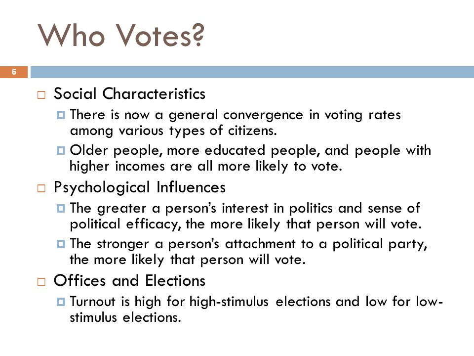 Who Votes Social Characteristics Psychological Influences