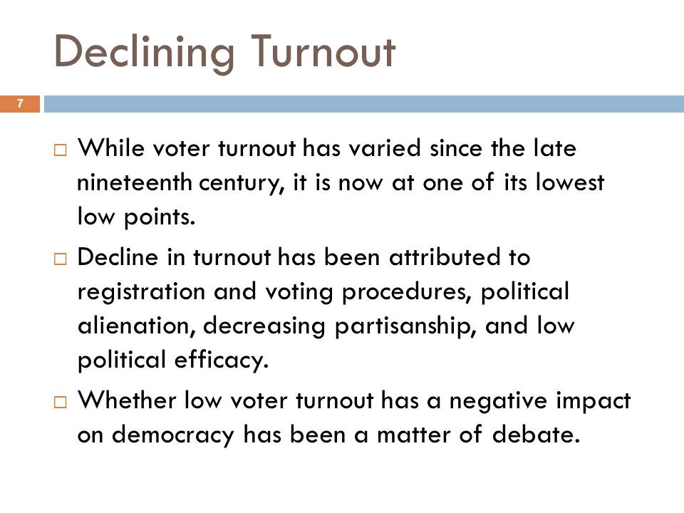 Declining Turnout While voter turnout has varied since the late nineteenth century, it is now at one of its lowest low points.