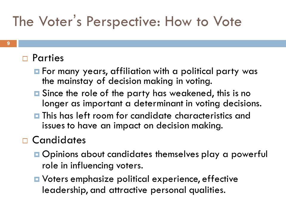 The Voter's Perspective: How to Vote