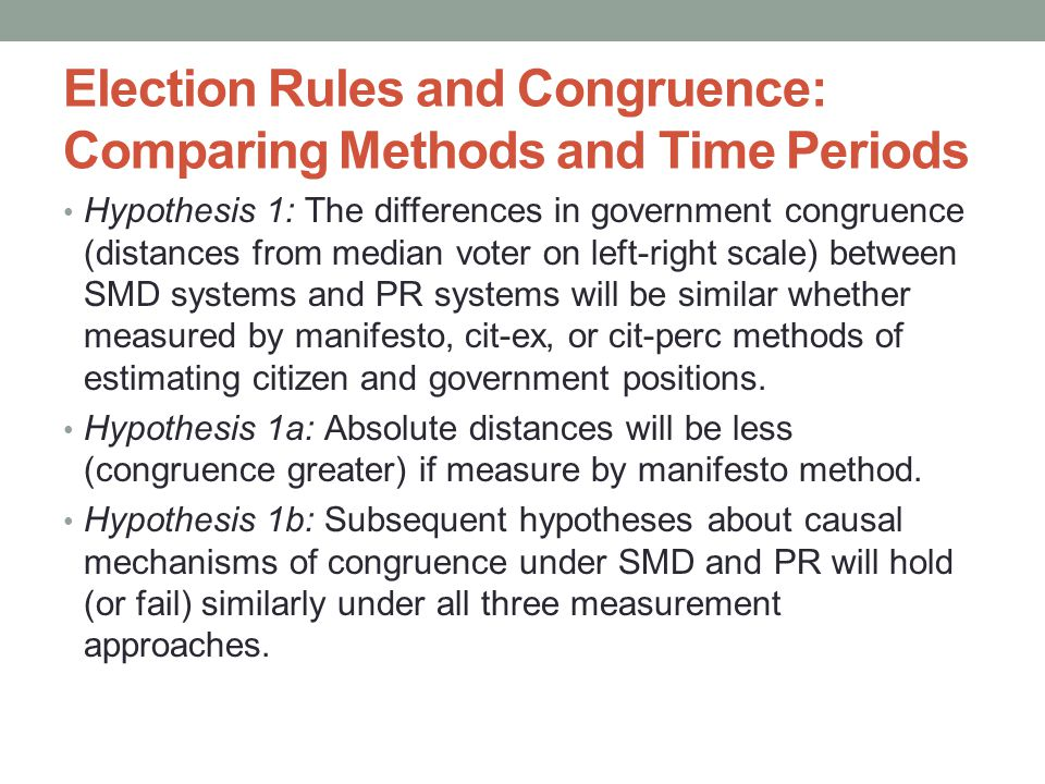Election Rules and Congruence: Comparing Methods and Time Periods