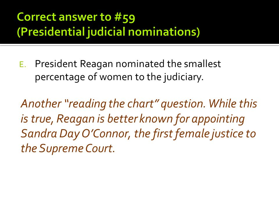 Correct answer to #59 (Presidential judicial nominations)