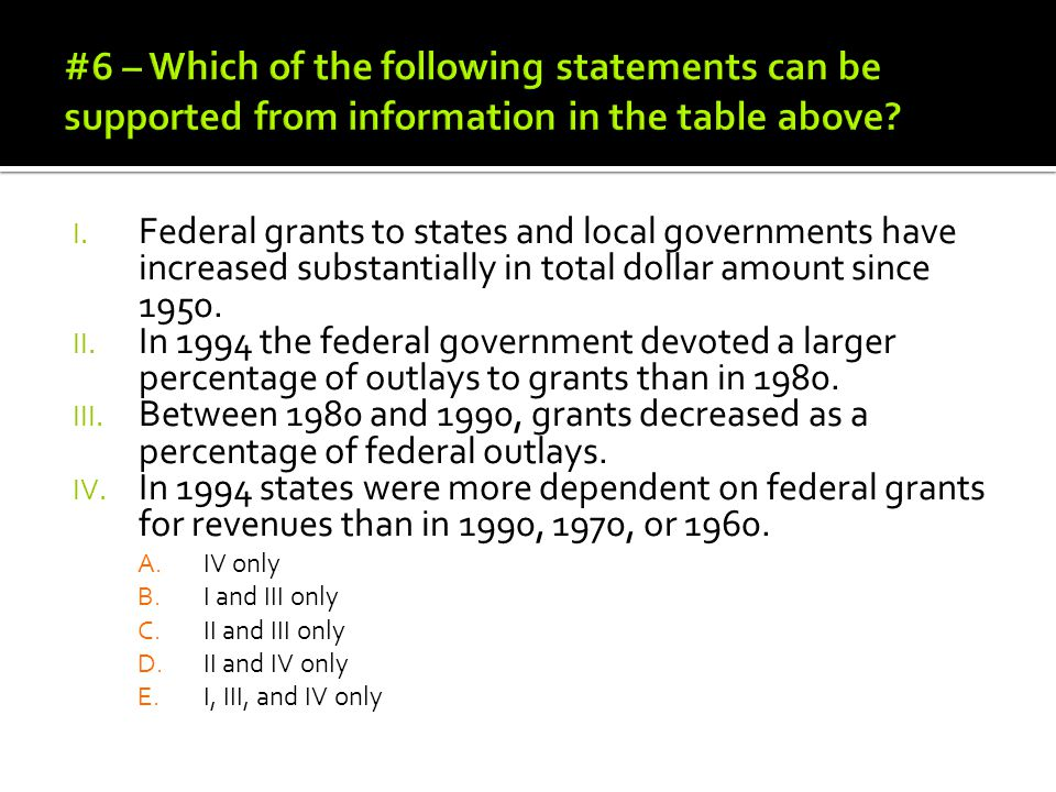 #6 – Which of the following statements can be supported from information in the table above