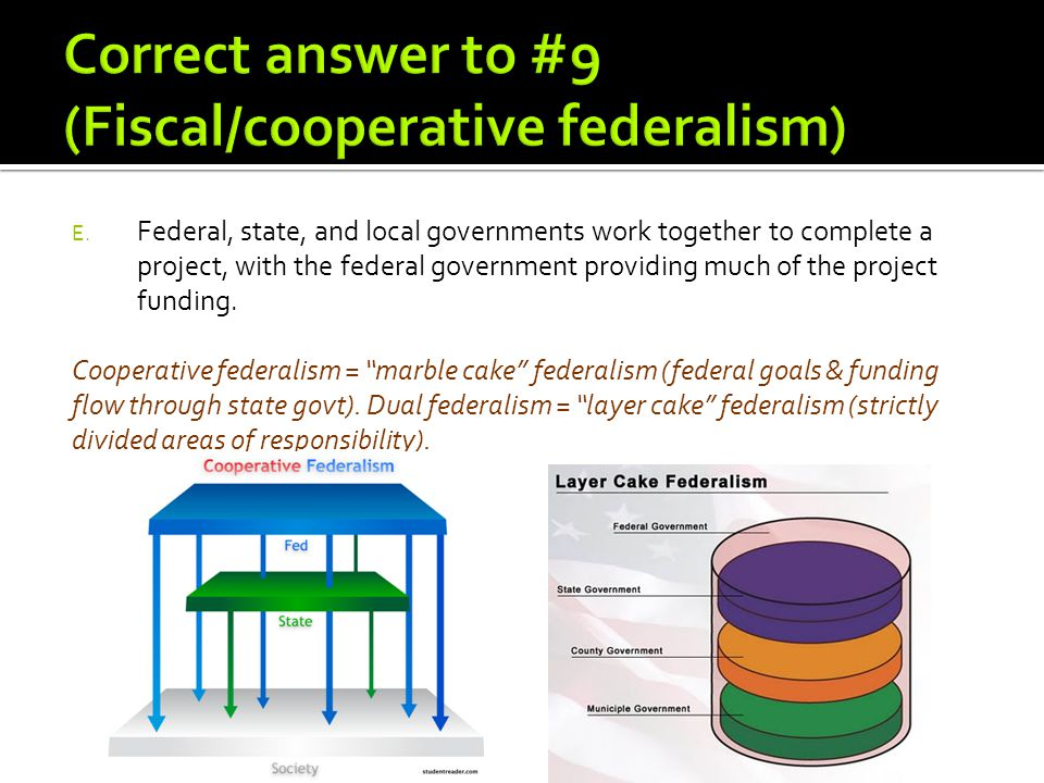 Correct answer to #9 (Fiscal/cooperative federalism)