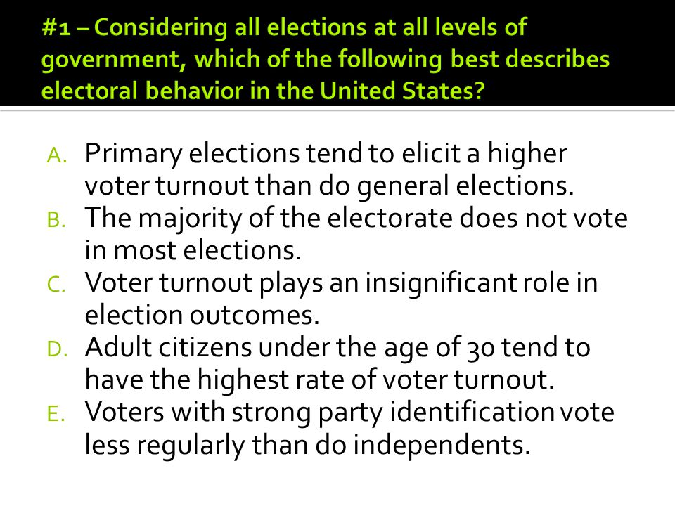 The majority of the electorate does not vote in most elections.