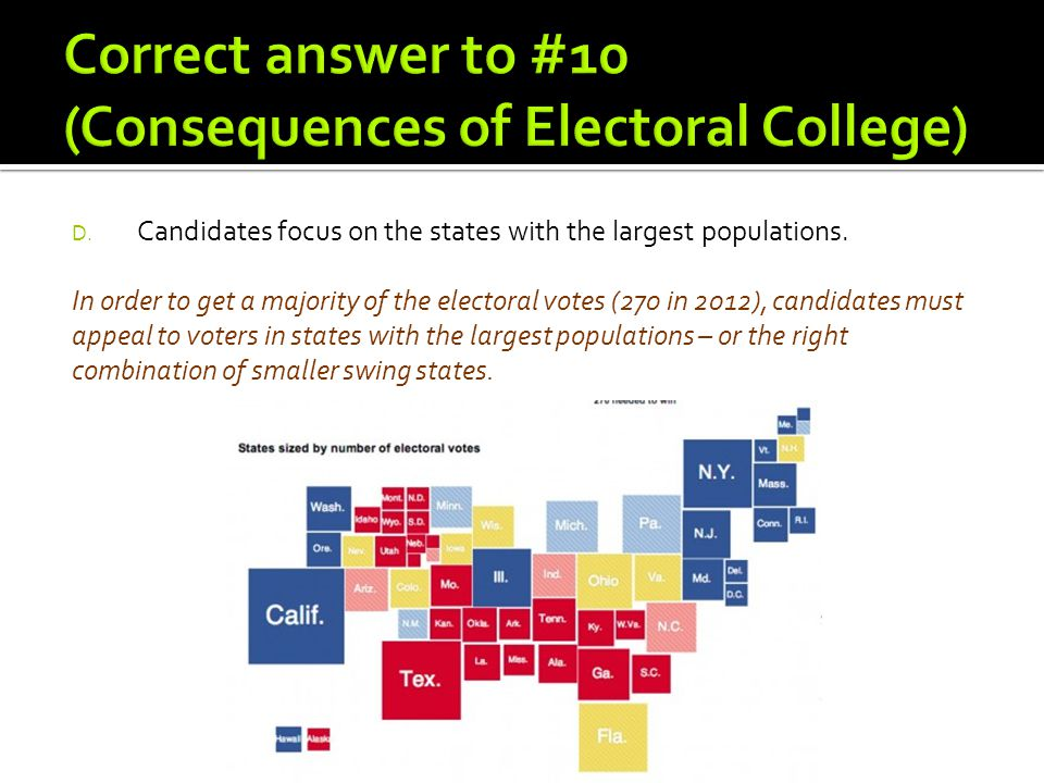 Correct answer to #10 (Consequences of Electoral College)
