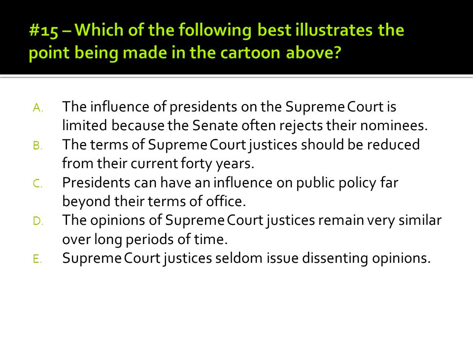 #15 – Which of the following best illustrates the point being made in the cartoon above