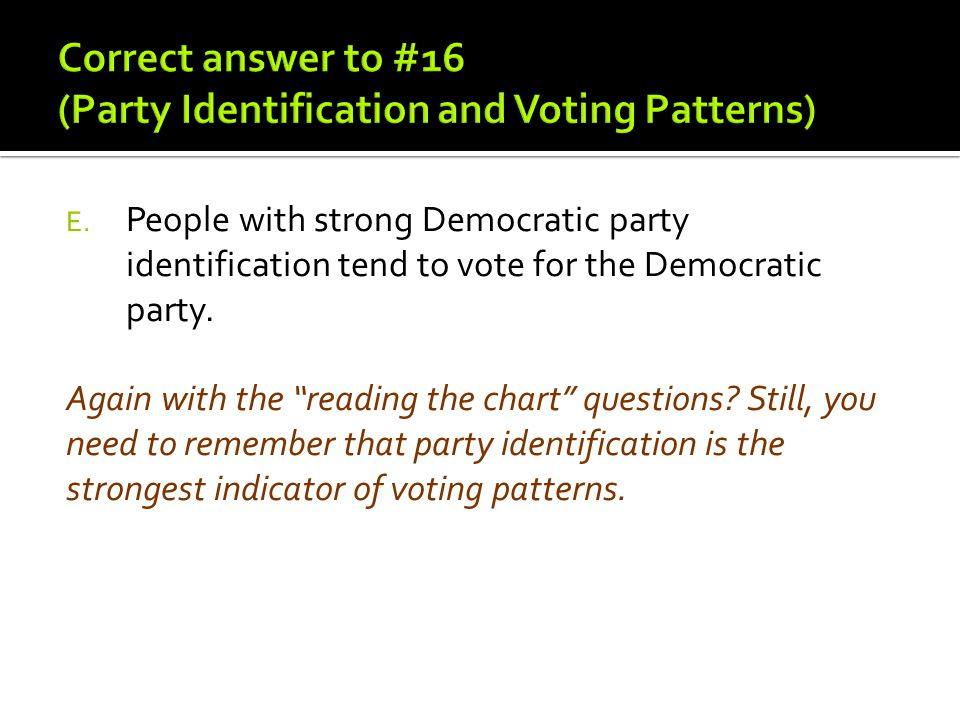 Correct answer to #16 (Party Identification and Voting Patterns)