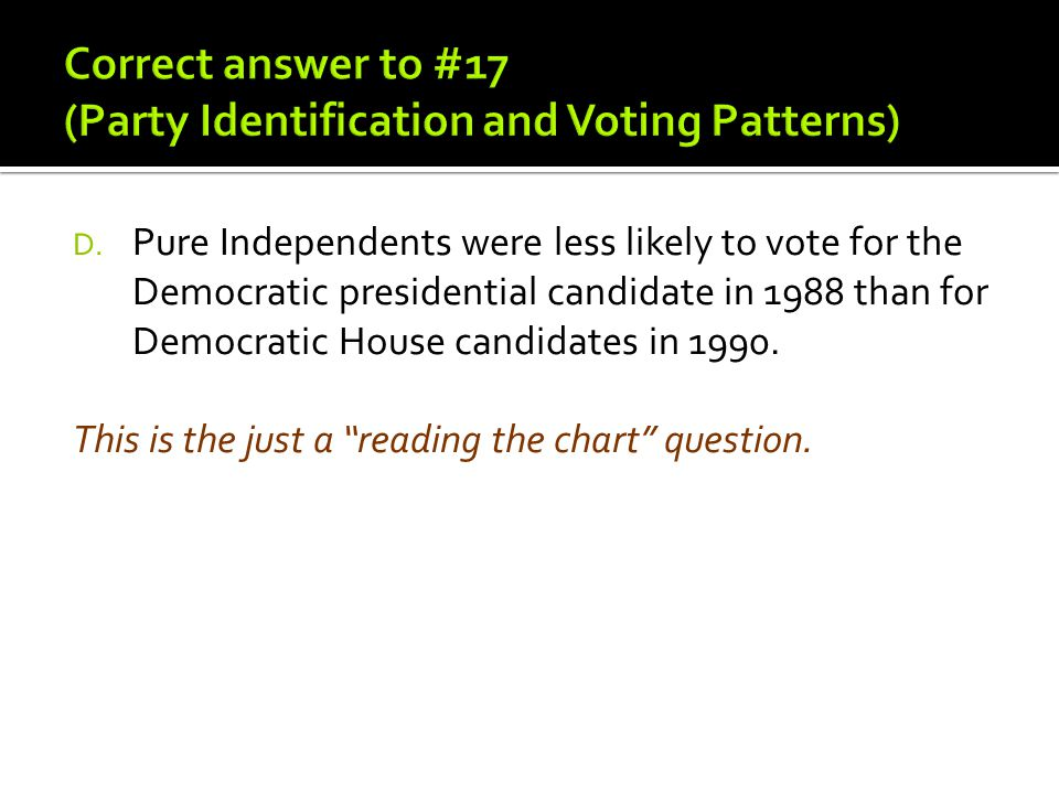 Correct answer to #17 (Party Identification and Voting Patterns)