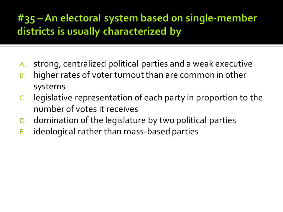 #35 – An electoral system based on single-member districts is usually characterized by