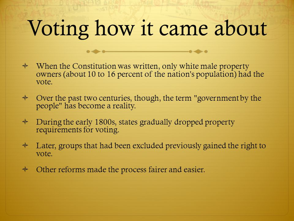 Voting how it came about