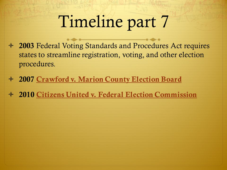 Timeline part 7 2003 Federal Voting Standards and Procedures Act requires states to streamline registration, voting, and other election procedures.