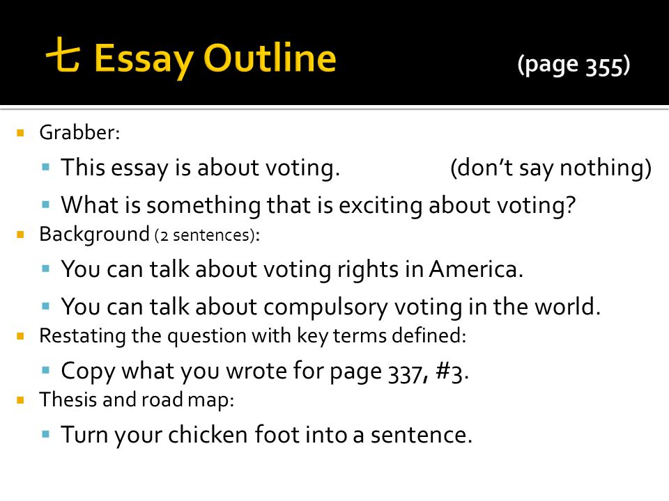 dbq agenda pick up your dbq from the back cart ppt video online  七 essay outline page 355 grabber this essay is about voting