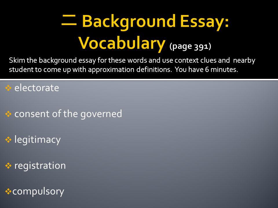 二 Background Essay: Vocabulary (page 391)
