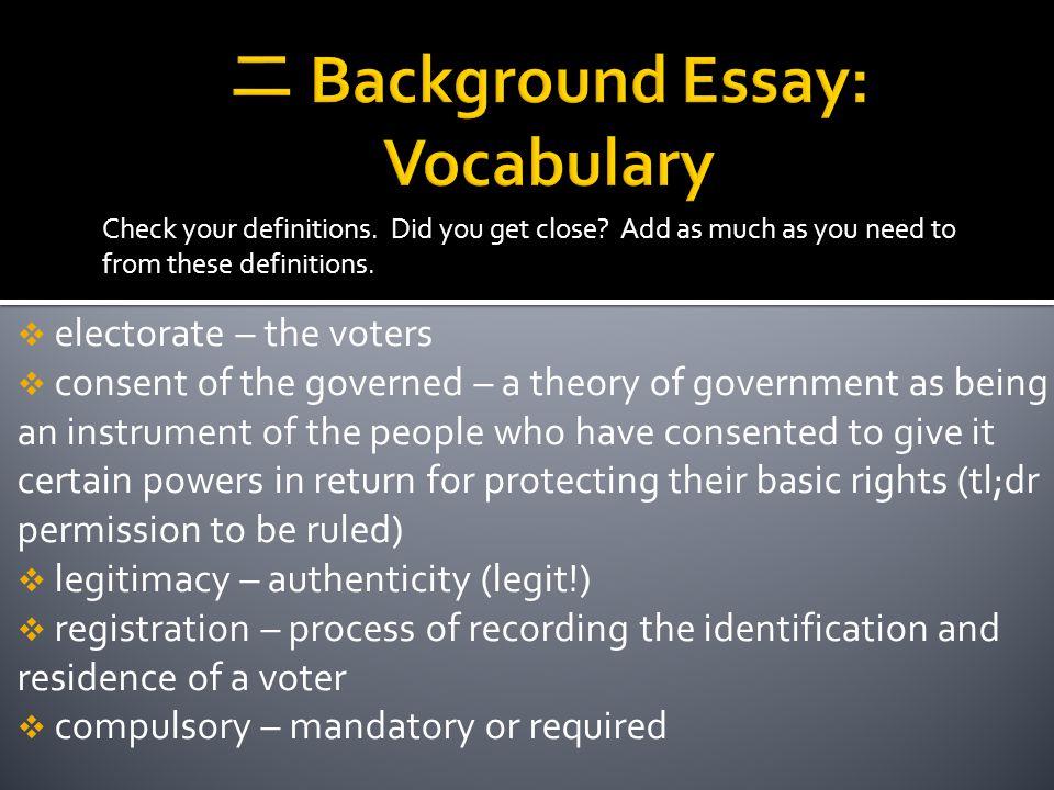 二 Background Essay: Vocabulary