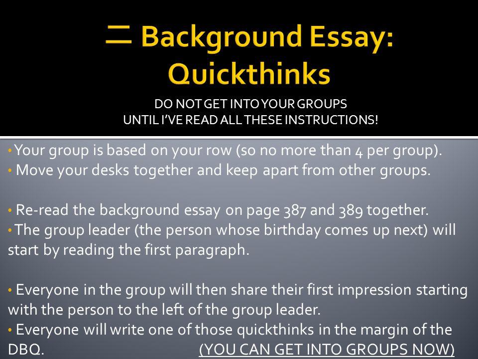 二 Background Essay: Quickthinks
