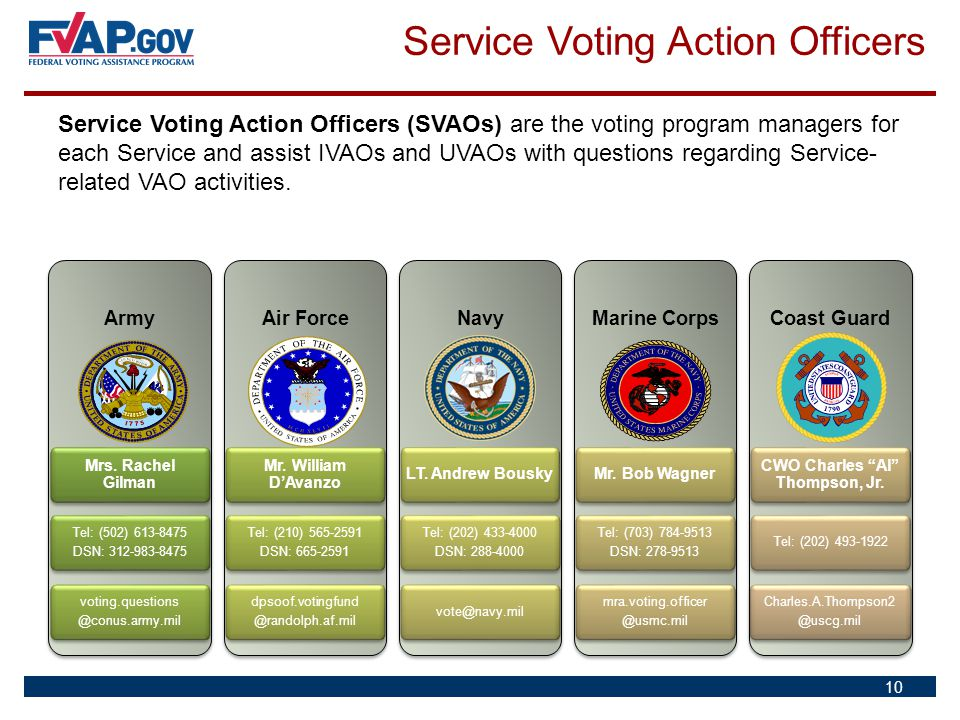 Service Voting Action Officers