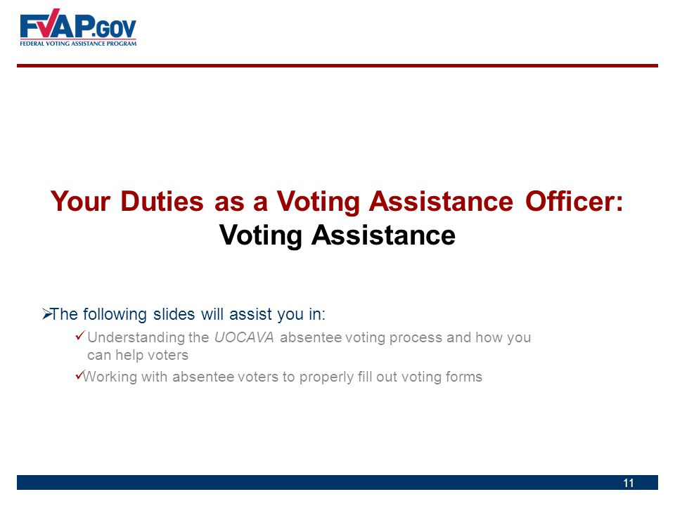 Your Duties as a Voting Assistance Officer: Voting Assistance